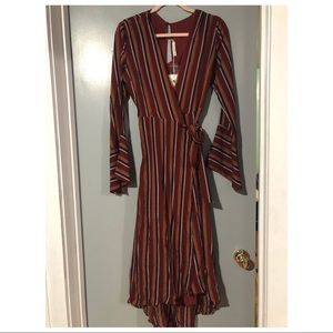 Lulu's Stripe Wrap Dress